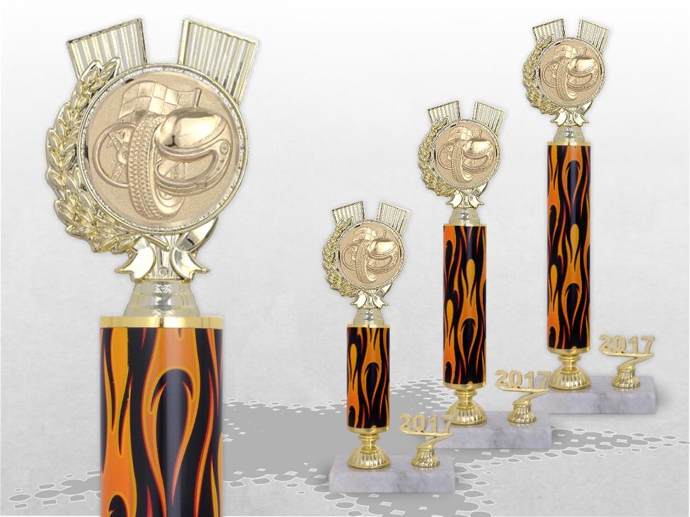 Säulenpokale FLAMES TROPHY mit Gravur & Emblem ab 26cm