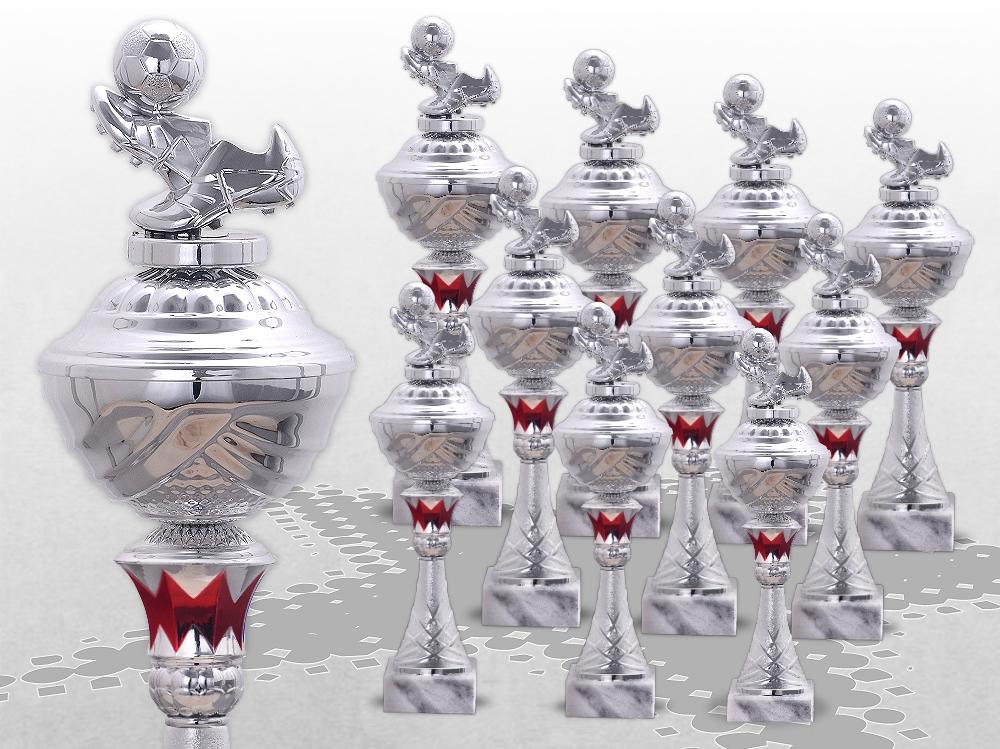 10er Fussball Pokale SilverRed ab 29,5cm