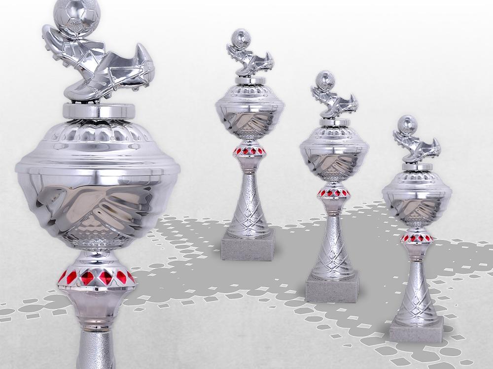 3er Fussball Pokale SilverRed ab 29,5cm