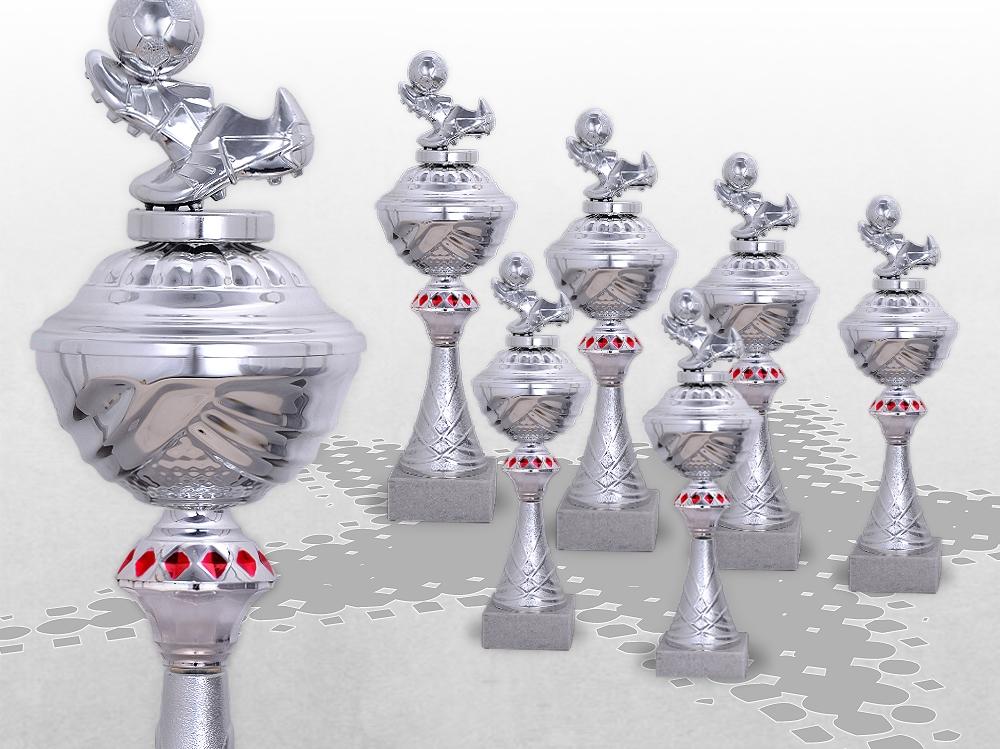 6er Fussball Pokale SilverRed ab 29,5cm