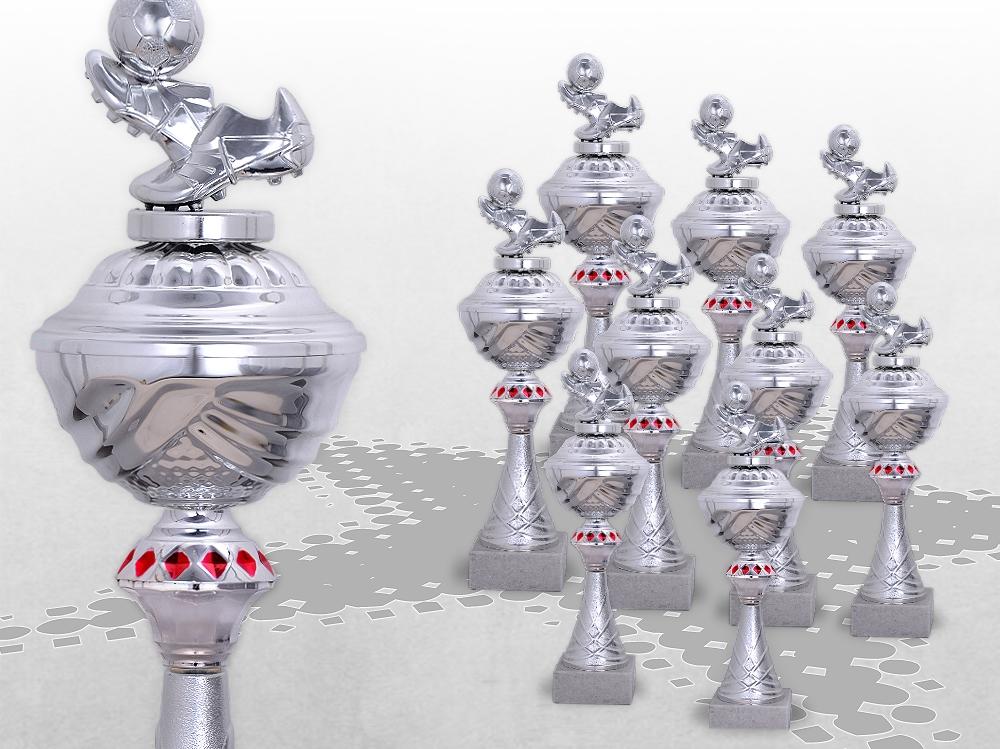 9er Fussball Pokale SilverRed ab 29,5cm