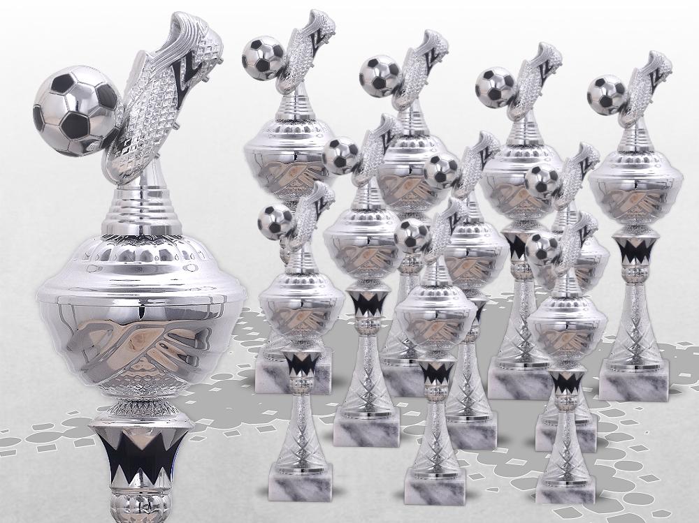 10er Fussball Pokale XL SilverBlack ab 34cm