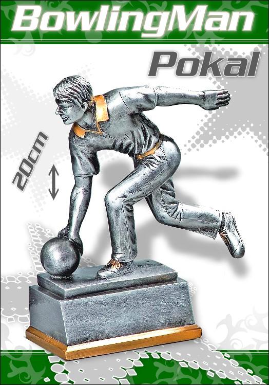 Pokale Resin Figur Bowling Herren 20 cm
