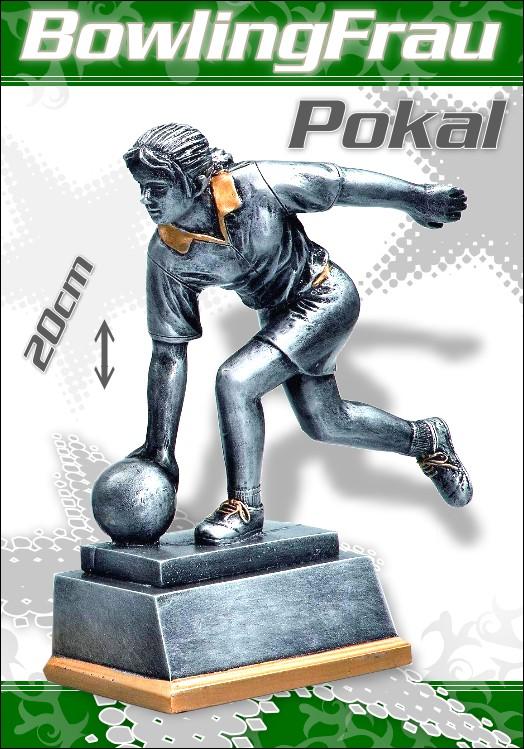 Pokale Resin Figur Bowling Damen 20 cm