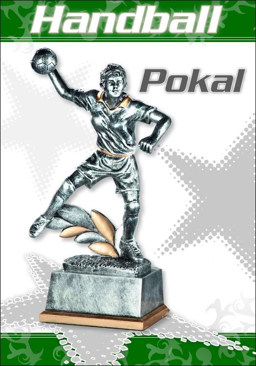 3er Pokalserie Pokale Resin Figur Handball Damen ab 18 cm