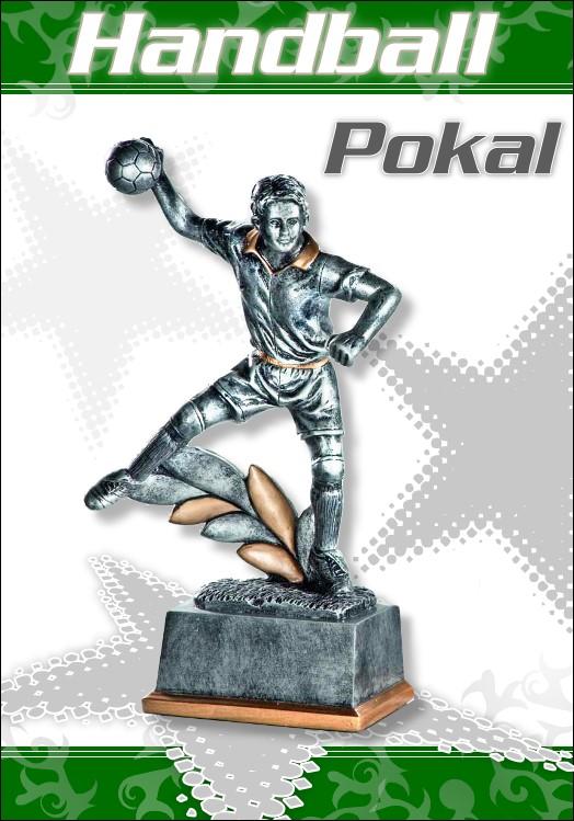 3er Pokalserie Pokale Resin Figur Handball Herren ab 16 cm