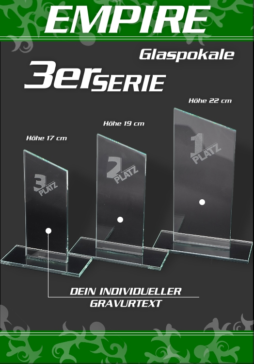 3er Glaspokale EMPIRE ab 17cm