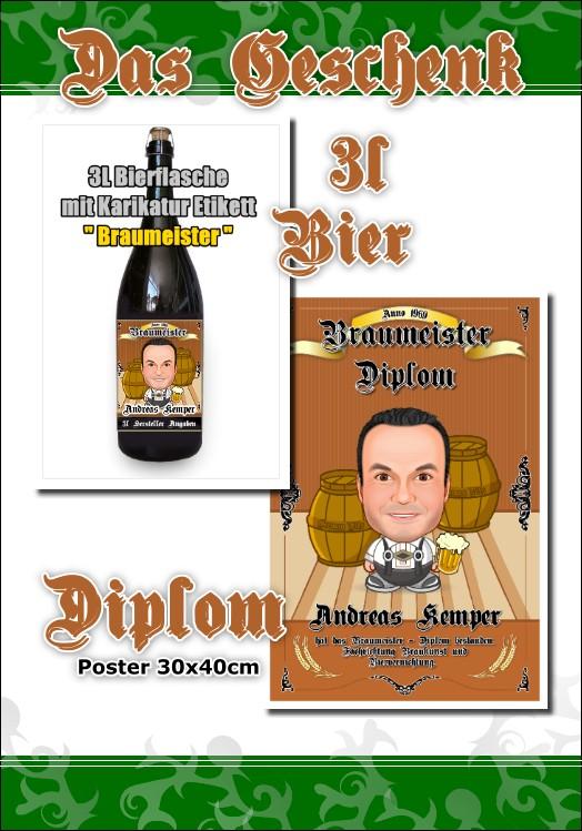 1. Karikatur Braumeister Diplom + 3L Bierflasche