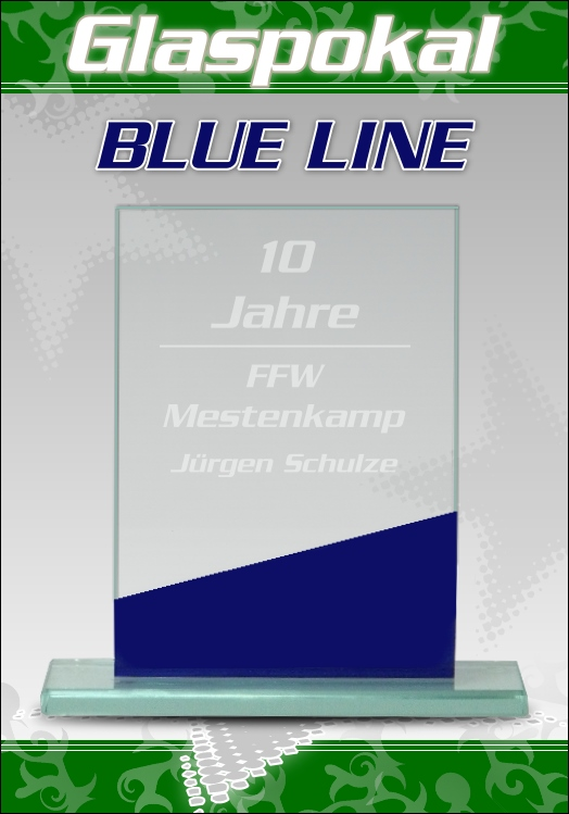 Glaspokale glas pokal mit gravur blue line 3 top pokale ebay for Glaspokale mit gravur