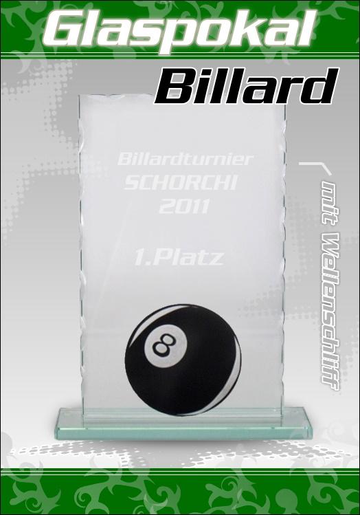 Glaspokal Wellenschliff Billard mit Gravur