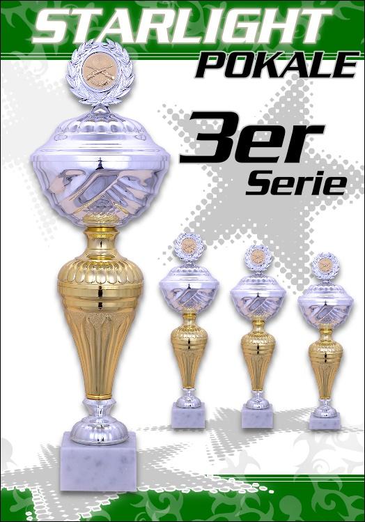 3er Pokalserie Pokale Starlight ab 23 cm