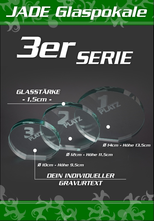 3er Glaspokale JADE DESIGN rund ab 10cm